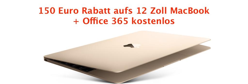 150 euro rabatt aufs neue 12 zoll macbook office 365. Black Bedroom Furniture Sets. Home Design Ideas