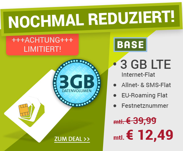 base allnet flat mit 3gb lte datenflat nur 12 49 euro pro monat macerkopf. Black Bedroom Furniture Sets. Home Design Ideas