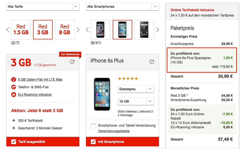 vodafone 1 euro wochen iphone 6s plus und weitere smartphones mit rabatt kaufen 3 monate. Black Bedroom Furniture Sets. Home Design Ideas