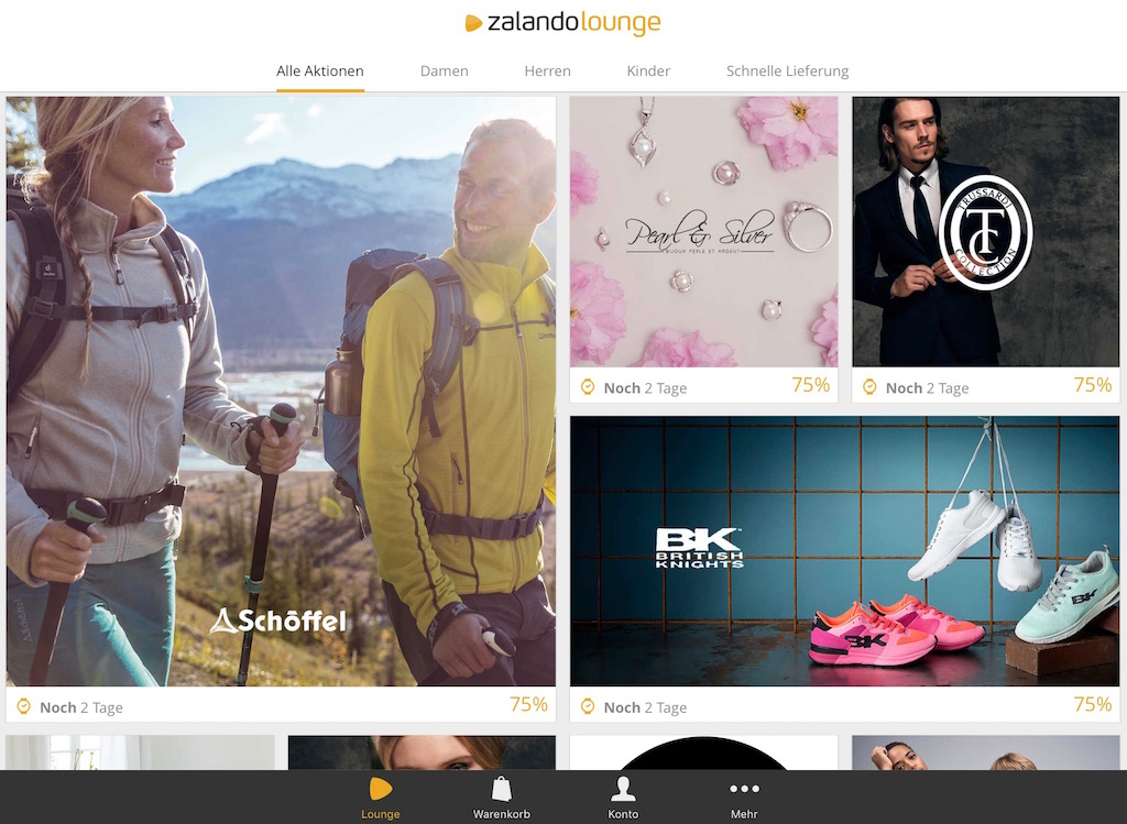 Zalando Lounge: Der Online Shopping Club im App-Dress ...