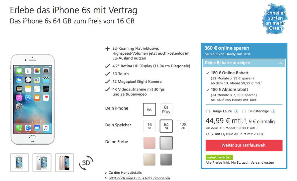 o2 iphone 6s 64gb zum preis des 16gb modells 300 euro. Black Bedroom Furniture Sets. Home Design Ideas