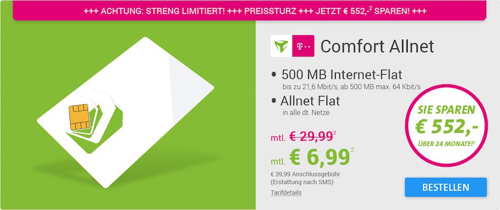 Telekom Allnet Flat 500mb Internet Flat Nur 699 Euro Monatlich