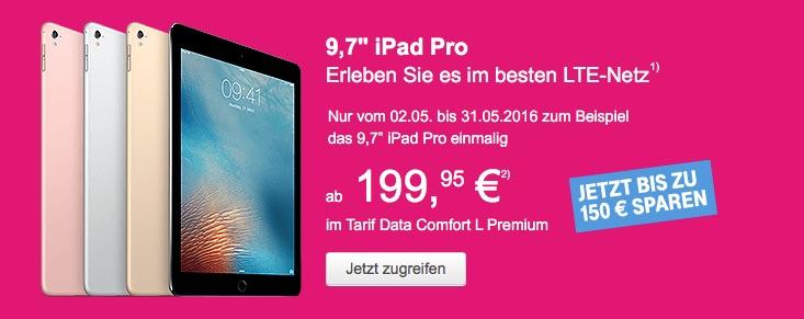 telekom tablet aktion rabatt auf ipad pro ipad air 2 und. Black Bedroom Furniture Sets. Home Design Ideas