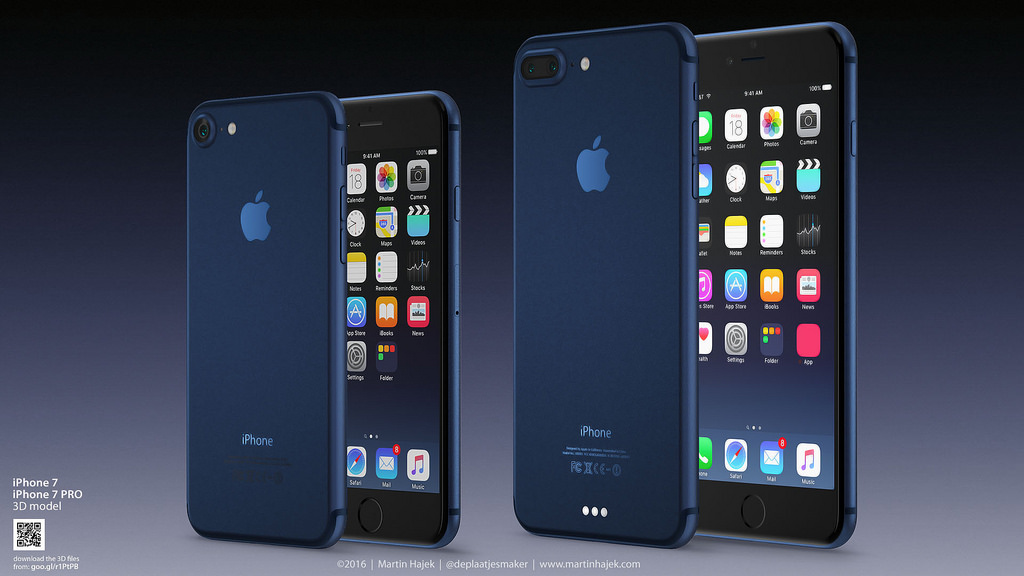 IPhone 7 Konzept Zeigt Farbe Dunkelblau Macerkopf