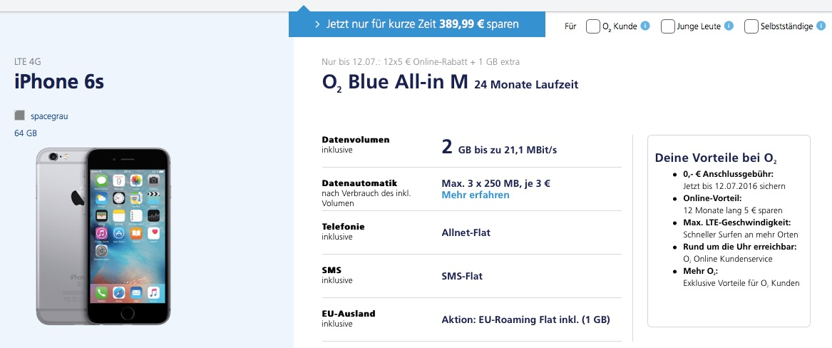 o2 iphone 6s 64gb zum preis des 16gb modells 390 euro. Black Bedroom Furniture Sets. Home Design Ideas