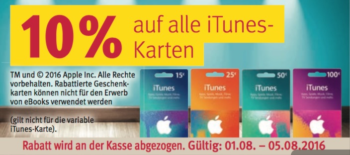 rossmann 10 prozent rabatt auf alle itunes karten macerkopf. Black Bedroom Furniture Sets. Home Design Ideas