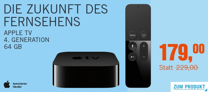 appletv 4 64gb billiger kaufen nur heute 50 euro rabatt macerkopf. Black Bedroom Furniture Sets. Home Design Ideas