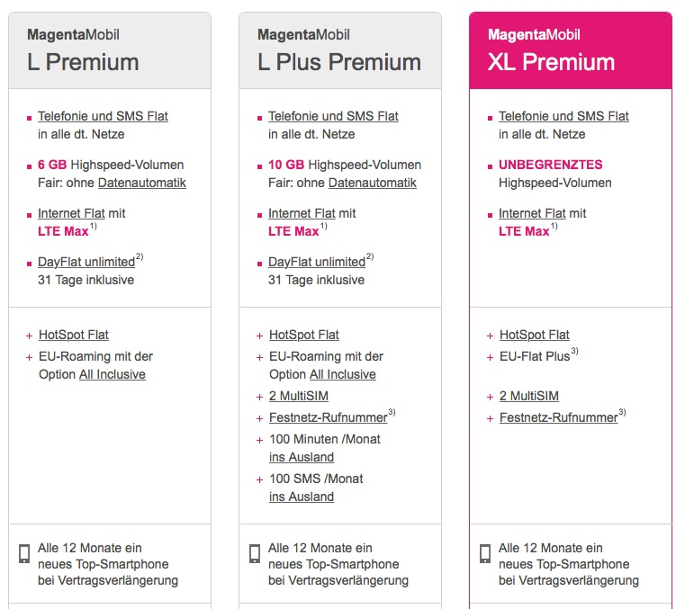 telekom magentamobil xl premium echte lte daten full flat alle 12 monate ein neues iphone. Black Bedroom Furniture Sets. Home Design Ideas