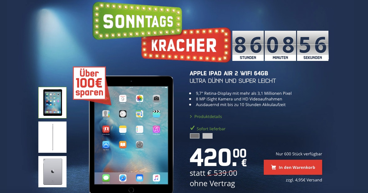 sonntagskracher ipad air 2 64gb mit rabatt kaufen macerkopf. Black Bedroom Furniture Sets. Home Design Ideas
