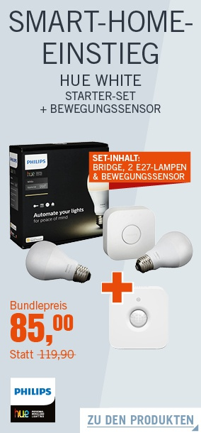 philips hue white starter set bewegungsmelder homekit nur heute f r 85 euro macerkopf. Black Bedroom Furniture Sets. Home Design Ideas