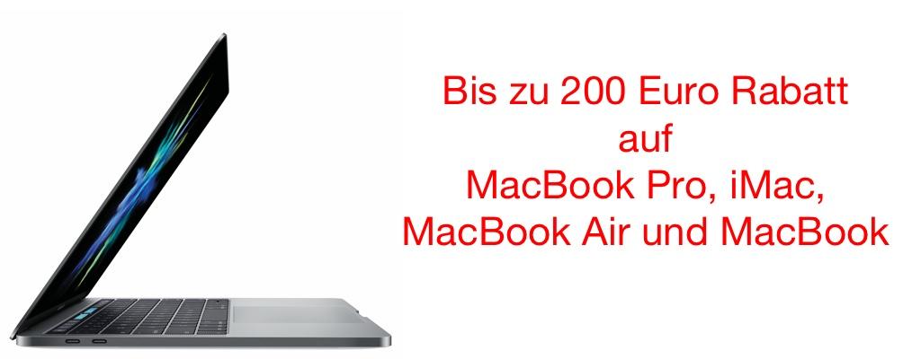 mac billiger kaufen 150 euro rabatt auf macbook pro 200. Black Bedroom Furniture Sets. Home Design Ideas