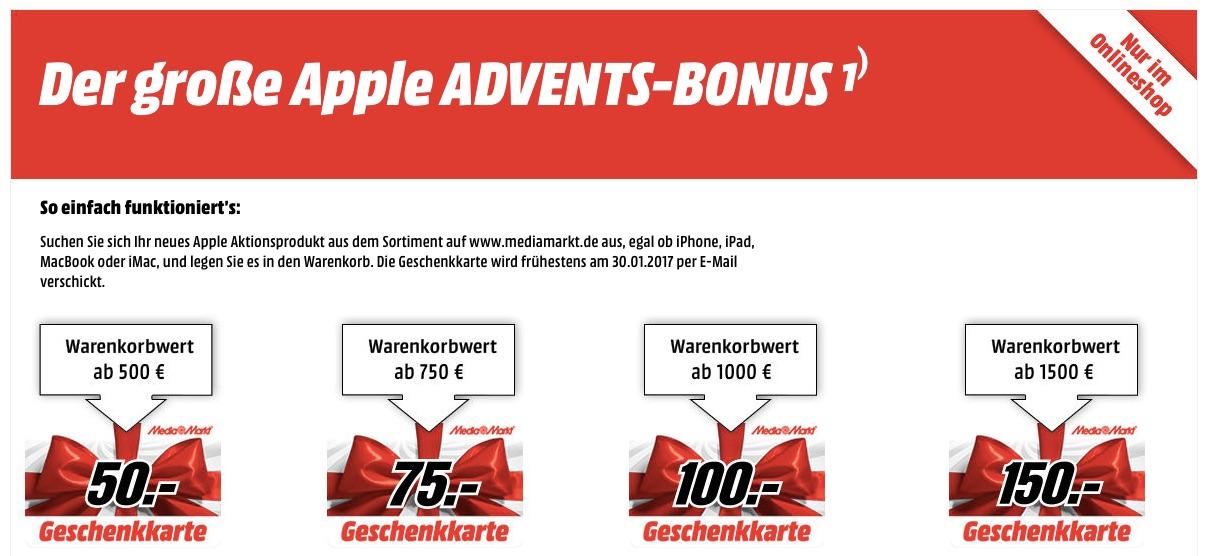 media markt apple produkt kaufen und bis zu 150 euro geschenkkarte erhalten macerkopf. Black Bedroom Furniture Sets. Home Design Ideas