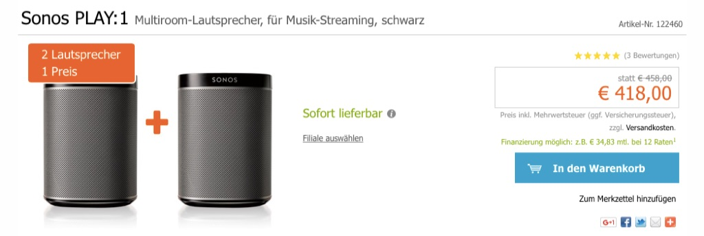 sonos play 1 mit valentins rabatt kaufen neuer werbespot wake up the silent home macerkopf. Black Bedroom Furniture Sets. Home Design Ideas