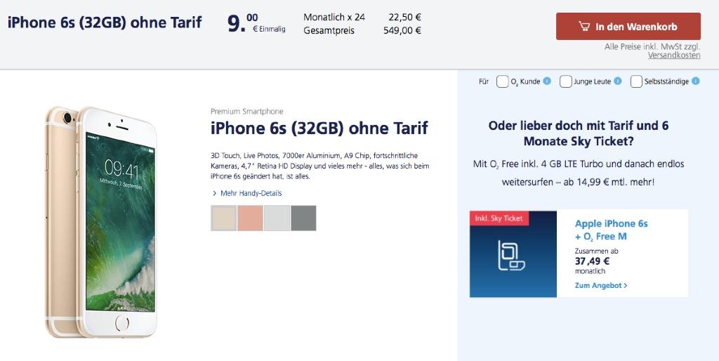 Aktion Iphone 6s Bei O2 Finanzieren Macerkopf