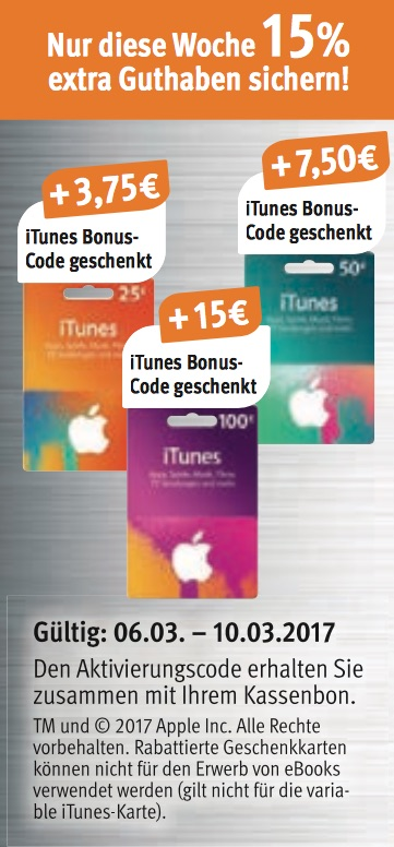 itunes karten 15 prozent extra guthaben bei rossmann und hit macerkopf. Black Bedroom Furniture Sets. Home Design Ideas