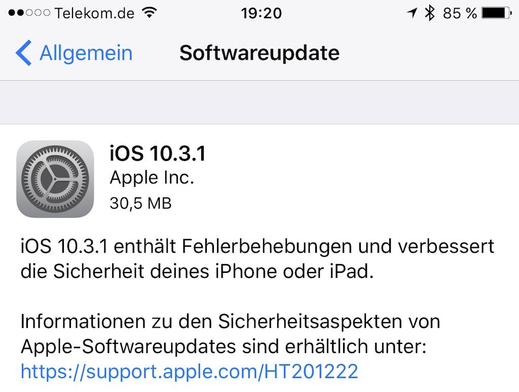 IOS 10.3.1 ist da