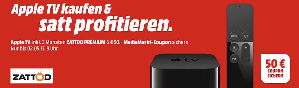 media markt appletv kaufen und 50 euro gutschein 3 monate zattoo premium gratis erhalten. Black Bedroom Furniture Sets. Home Design Ideas