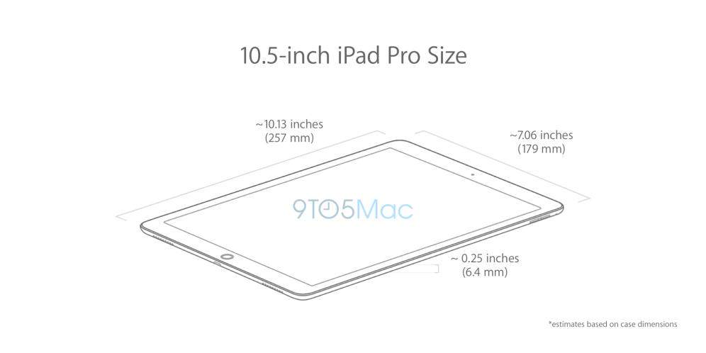 apple 10 5 zoll ipad pro das sind die abmessungen rendering zeigt design macerkopf. Black Bedroom Furniture Sets. Home Design Ideas