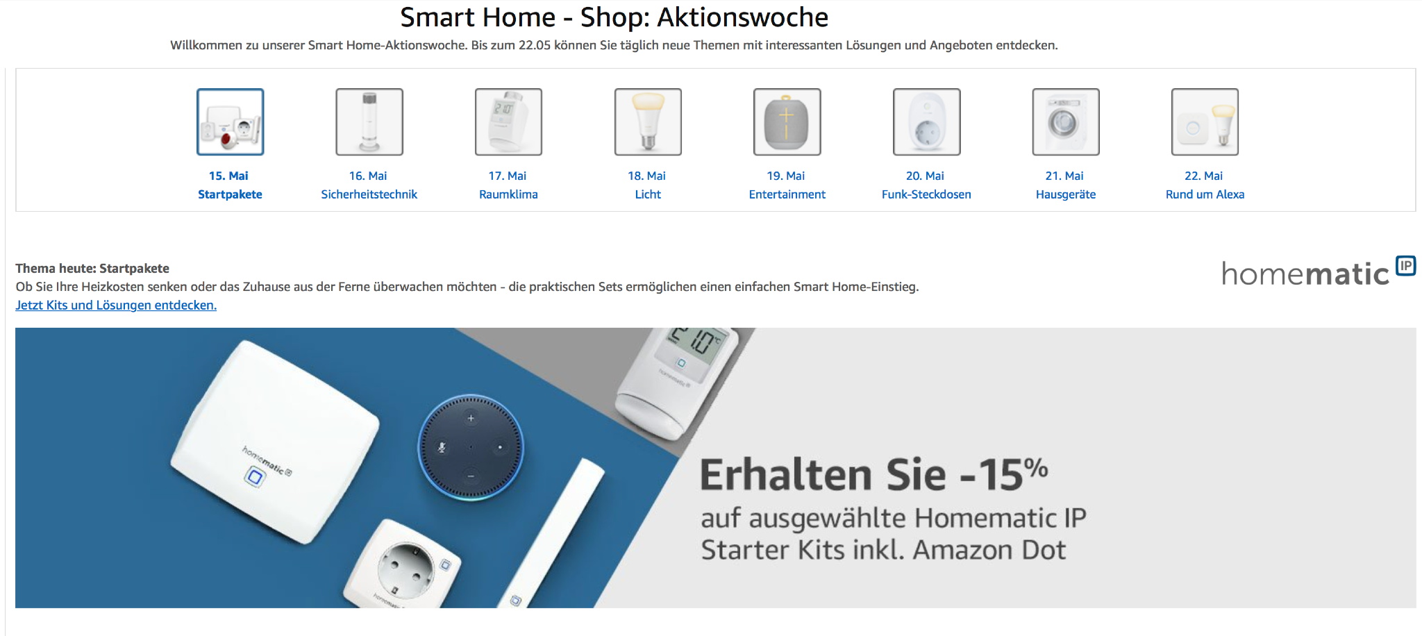 amazon startet smart home woche starter pakete heute billiger u a philips hue echo dot. Black Bedroom Furniture Sets. Home Design Ideas