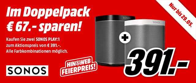 Sonos Play 1 im 2er Pack billiger kaufen: 67 Euro Rabatt