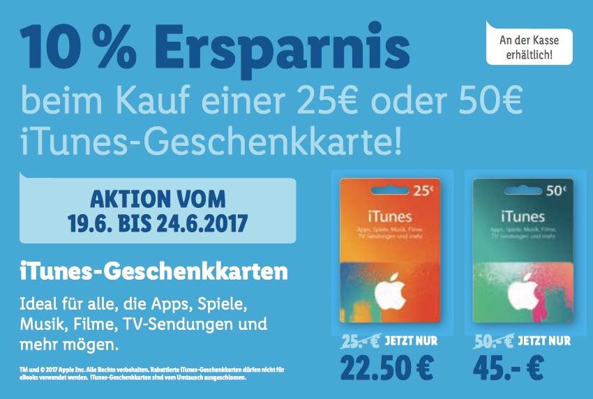 ITunes-Karten günstiger: 10% Rabatt bei Lidl