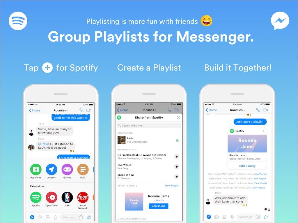 Spotify im Messenger und Windows Store