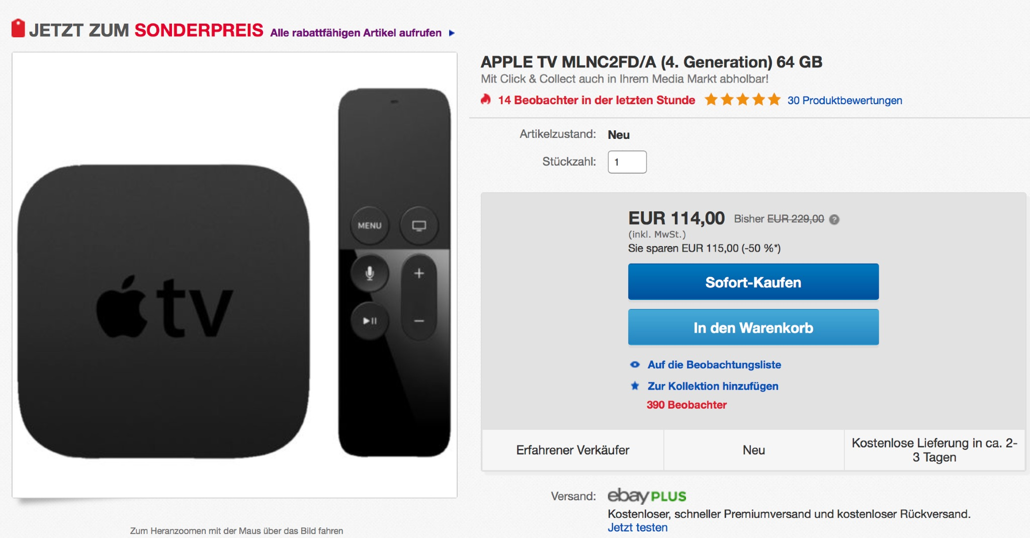APPLE TV RABATT
