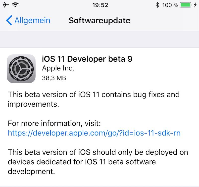 Vor dem iPhone 8: iOS 11 und tvOS Beta 9 ist da
