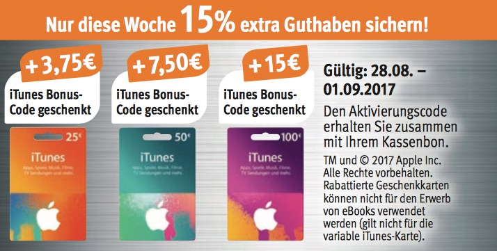 itunes karten 15 prozent bonus guthaben bei saturn rossmann und hit macerkopf. Black Bedroom Furniture Sets. Home Design Ideas