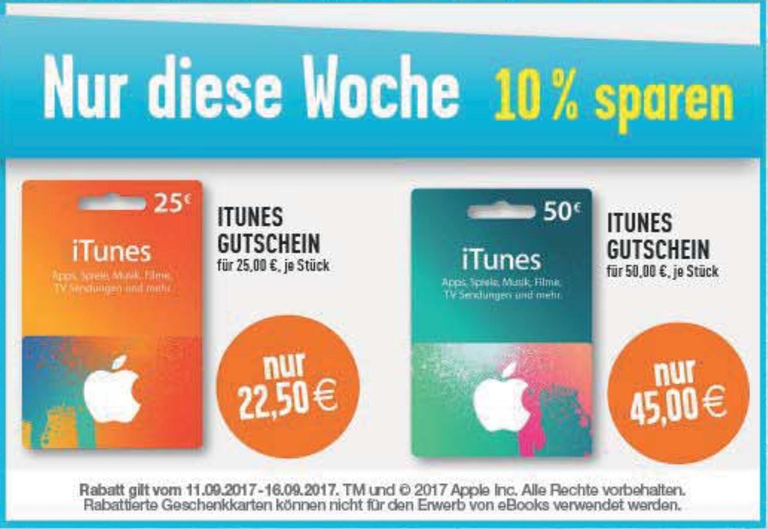 ITunes-Karten günstiger: Ab heute Rabatt und Bonus (11.9. - 16.9.)