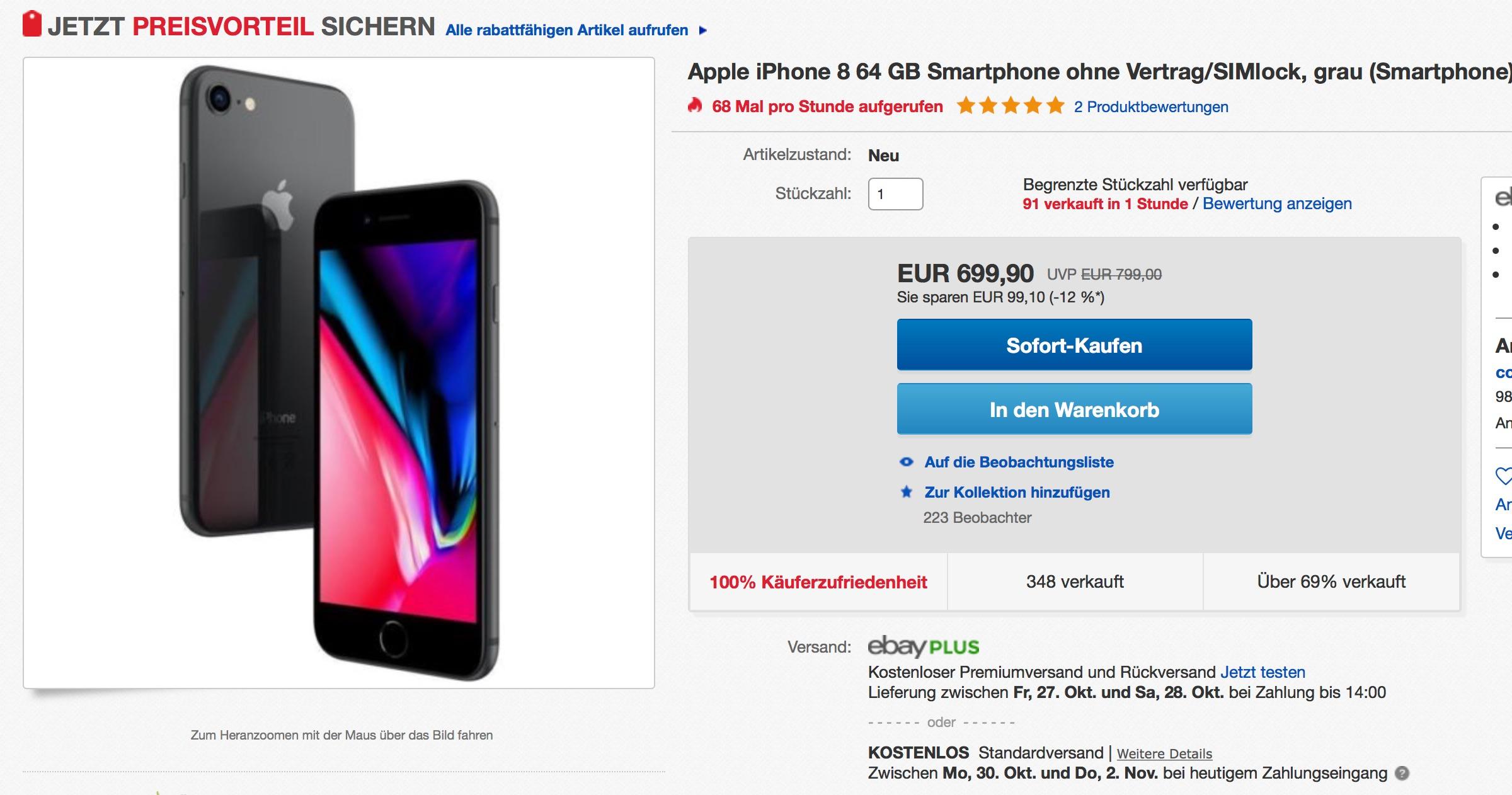 100 euro rabatt iphone 8 vor bergehend nur 699 euro macerkopf. Black Bedroom Furniture Sets. Home Design Ideas