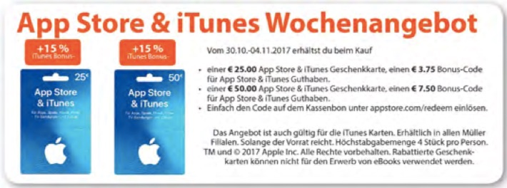 itunes karten g nstiger 15 prozent bonus guthaben bei m ller macerkopf. Black Bedroom Furniture Sets. Home Design Ideas