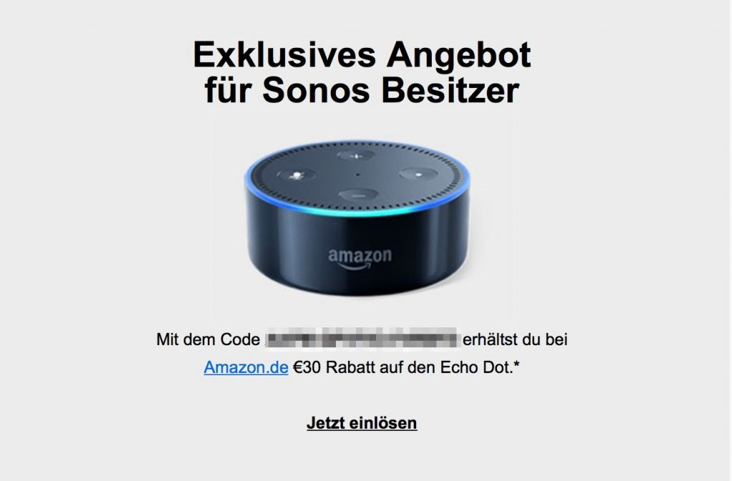 sonos besitzer erhalten 30 euro rabatt beim kauf von amazon echo dot macerkopf. Black Bedroom Furniture Sets. Home Design Ideas