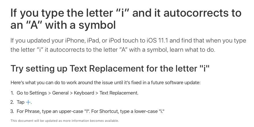 Autokorrektur-Fehler: iOS 11.1 macht i zu A