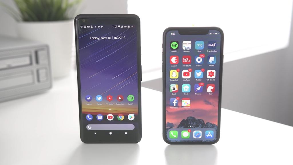 vergleich pixel 2 xl iphone 10