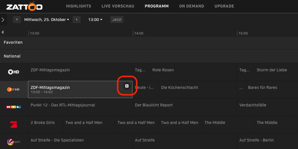Live Stream wird bequemer: Zattoo jetzt mit Aufnahmefunktion