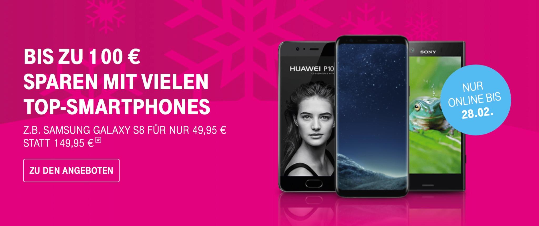 telekom aktion bis zu 100 euro rabatt auf iphone 8 iphone 7 samsung galaxy s8 huawei mate 10. Black Bedroom Furniture Sets. Home Design Ideas