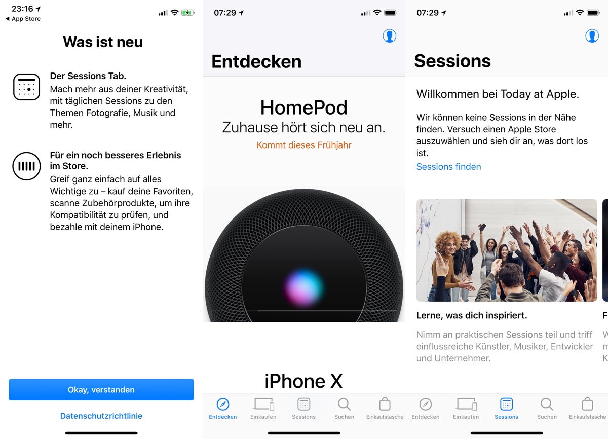 apple store app mit verbessertem design sessions tab und. Black Bedroom Furniture Sets. Home Design Ideas