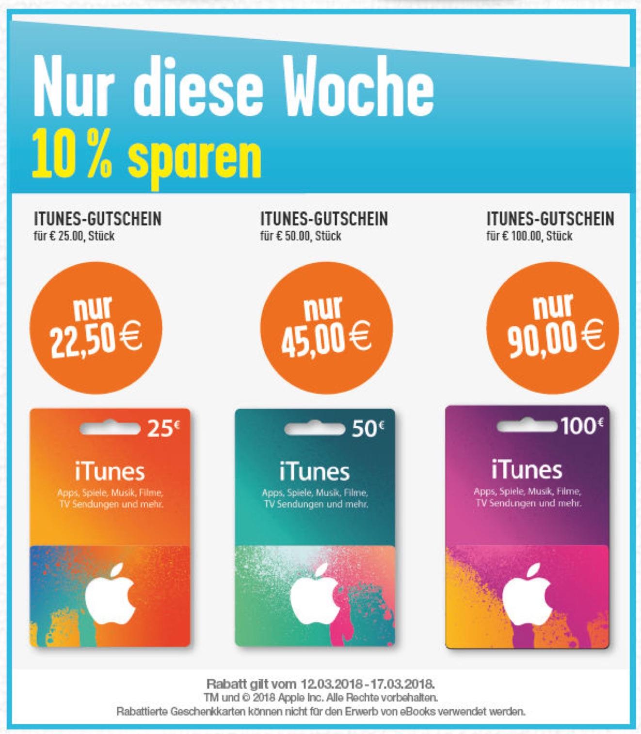itunes karte rabatt iTunes Karten: Rabatt Aktionen bei Edeka, Marktkauf und der