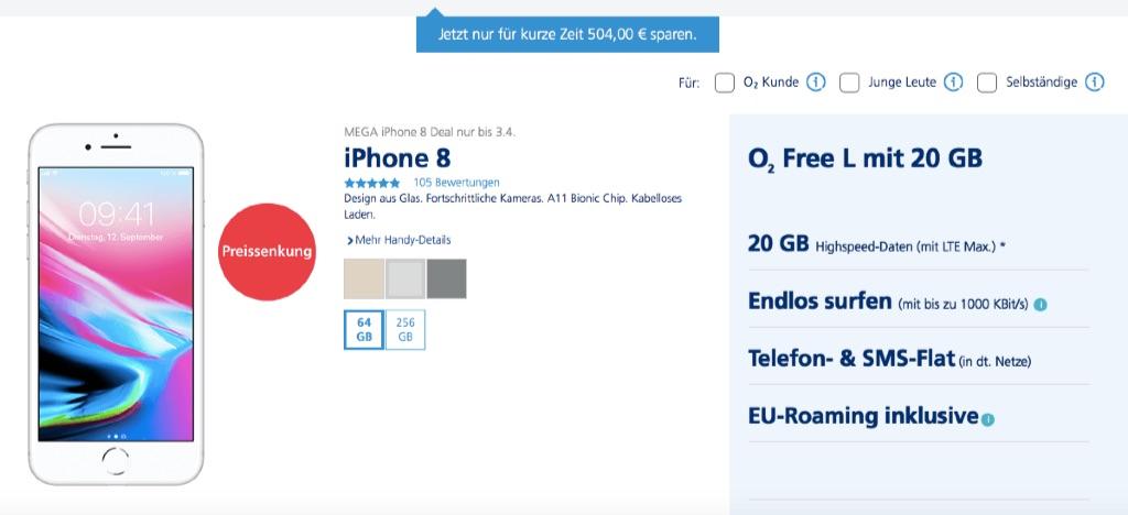 O2 Mega Deal Iphone 8 Mit Rabatt Kaufen Junge Leute Sparen