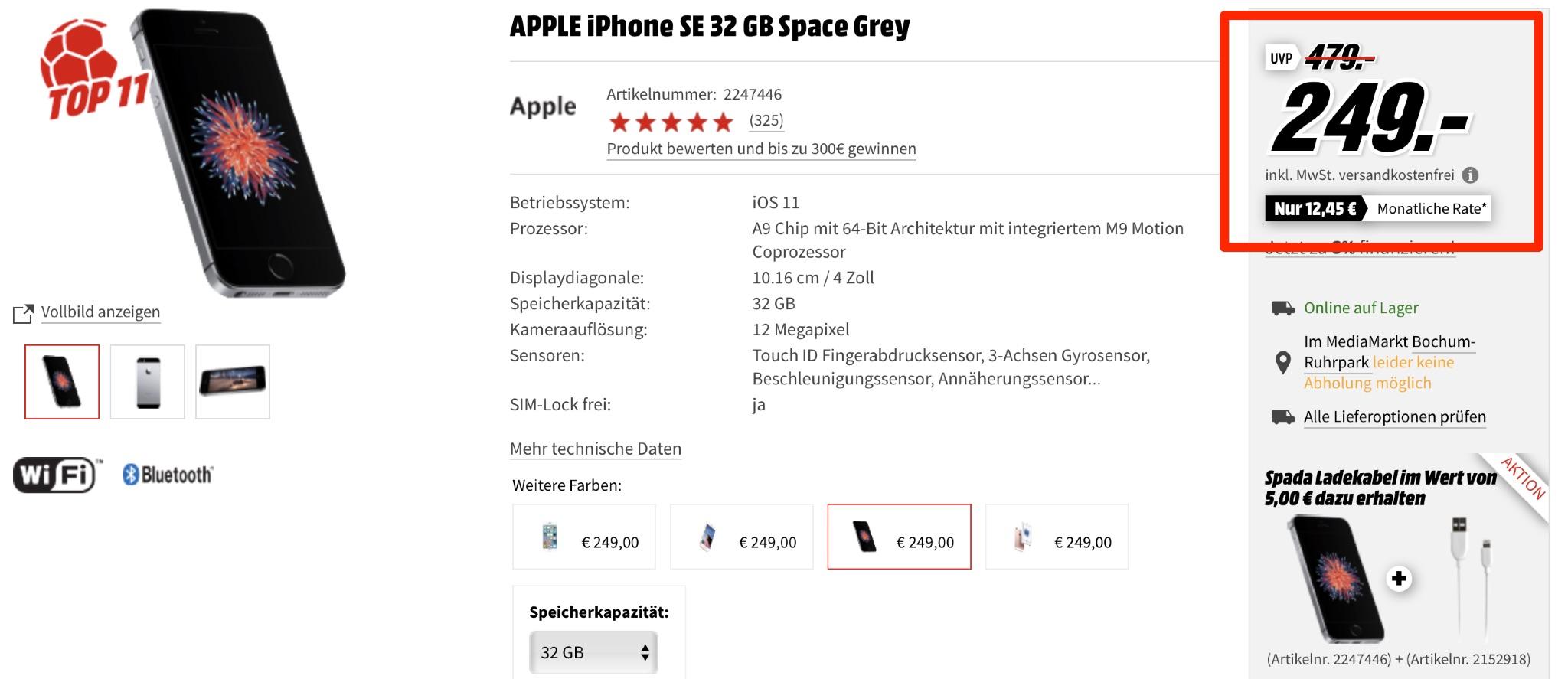 iphone se vor bergehend nur 249 euro macerkopf. Black Bedroom Furniture Sets. Home Design Ideas