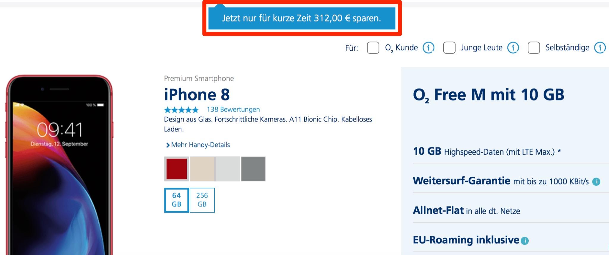 Iphone 8 Mit O2 Free M 10gb Lte Highspeed Volumen 312 Euro Rabatt