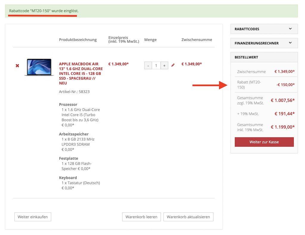 macs billiger kaufen 150 euro rabatt auf macbook air macbook pro und imac neue mactrade. Black Bedroom Furniture Sets. Home Design Ideas