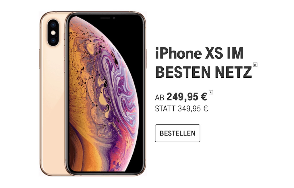 iphone xs vor bergehend mit 100 euro rabatt im telekom. Black Bedroom Furniture Sets. Home Design Ideas