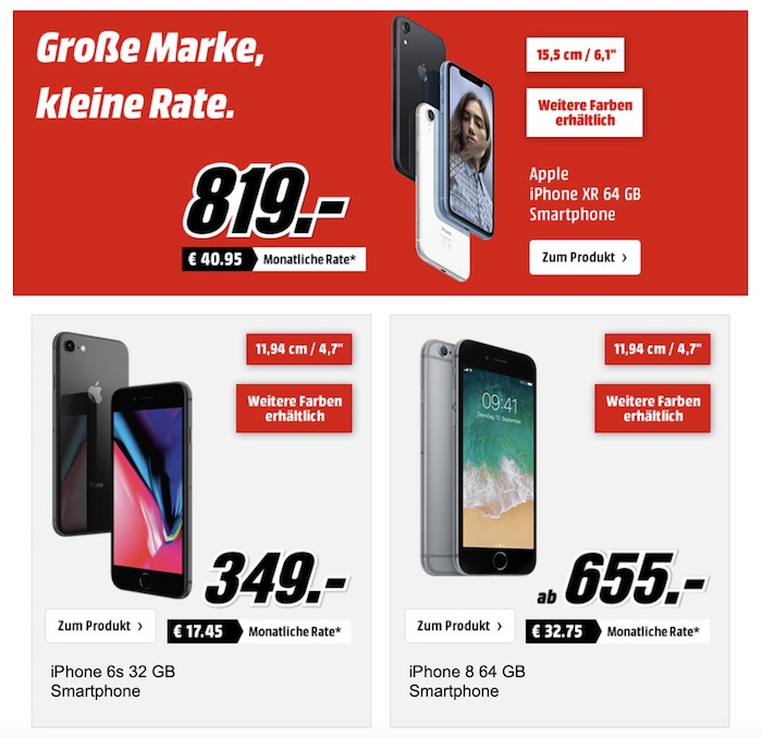 apple rabatt aktion bei media markt 0 prozent finanzierung u a iphone xr iphone 8 apple. Black Bedroom Furniture Sets. Home Design Ideas