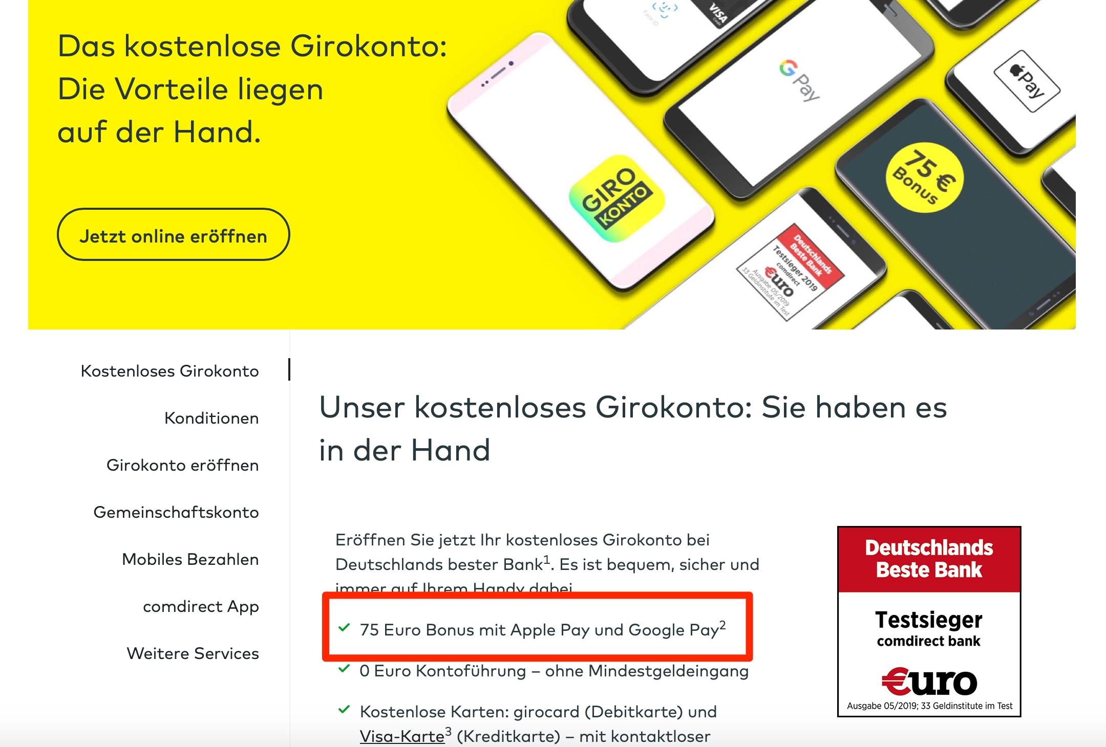 Comdirect: 75 Euro Bonus für 3 Zahlungen mit Apple Pay oder Google Pay
