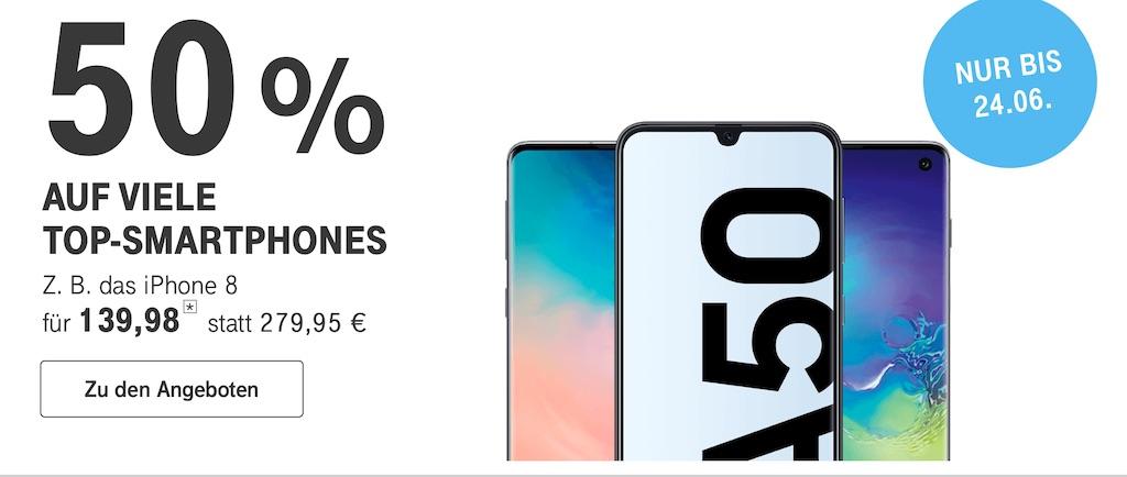 Telekom: 50 Prozent Rabatt auf viele Top-Smartphones (u.a. iPhone XR, iPhone 8, Samsung Galaxy S10 und mehr) › Macerkopf