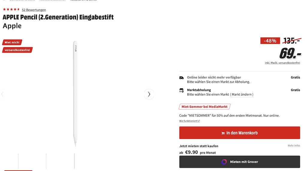 Apple Pencil (2. Generation) nur 69 Euro anstatt 135 Euro (48 Prozent) › Macerkopf