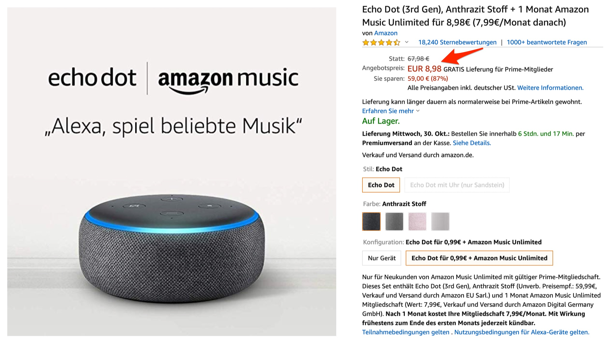 Amazon-Deal: Echo Dot 3 zum Knallerpreis