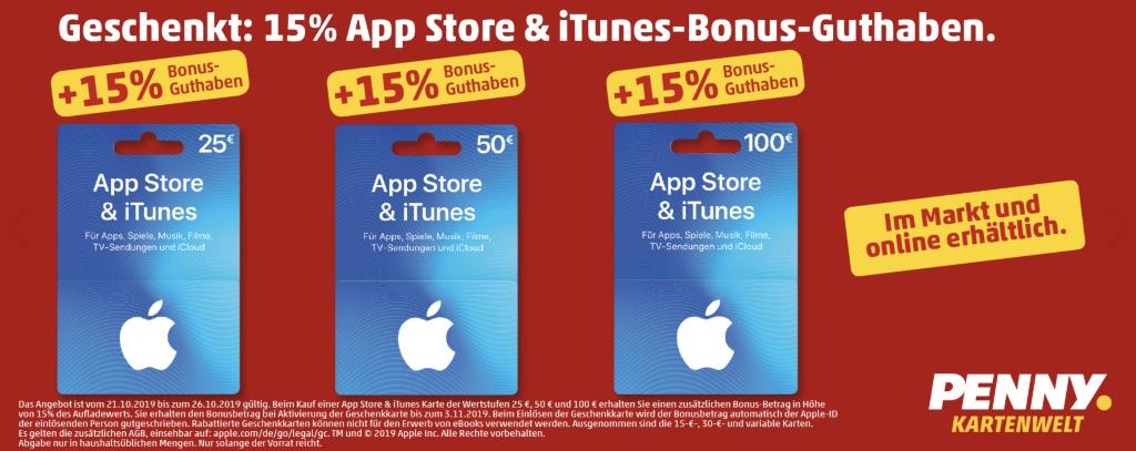 iTunes Karten bei Penny: 15 Prozent Bonus Guthaben › Macerkopf
